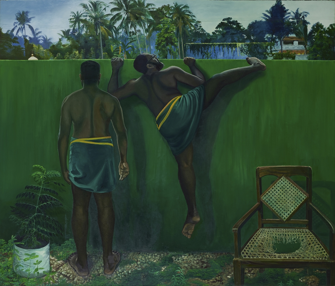 Ratheesh T., The Wall Between Us, 2020  Oil on canvas  72 x 84.4 in / 183 x 214.5 cm