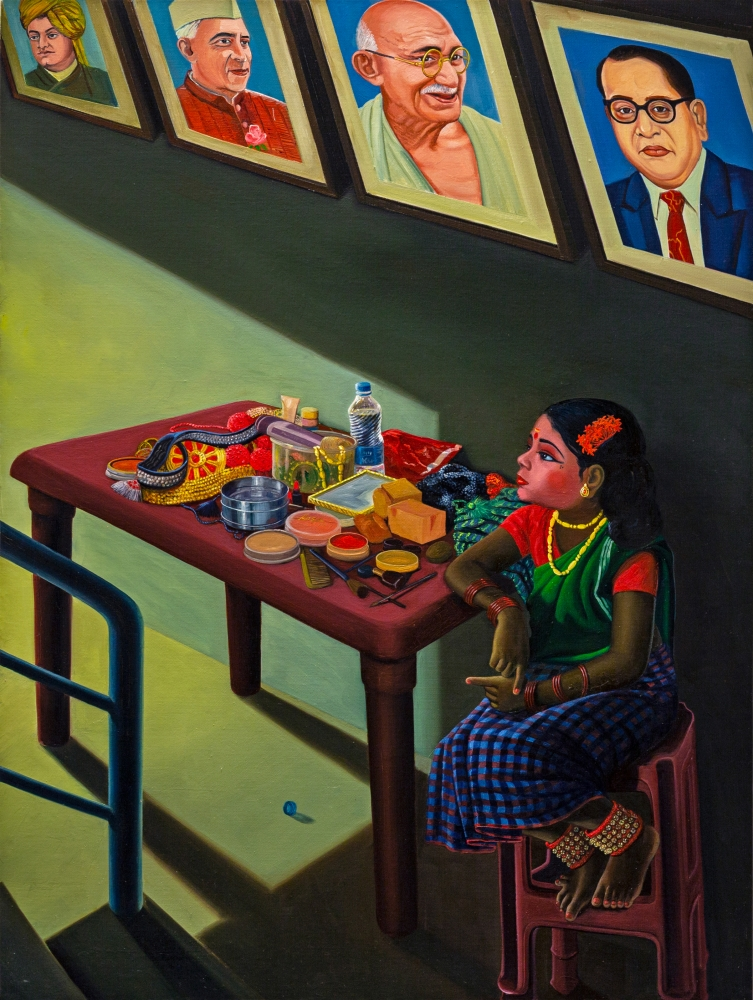 RATHEESH T.   Contestant Waiting at Legend's Corridor, 2020  Oil on canvas  48 x 36 in / 121.9 x 91.4 cm  Collection: Kiran Nadar Museum of Art, New Delhi, India