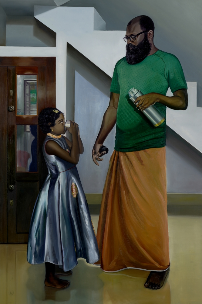 RATHEESH T.   Silent Dialogue, 2021  Oil on canvas  72 x 48.4 in / 183 x 123 cm