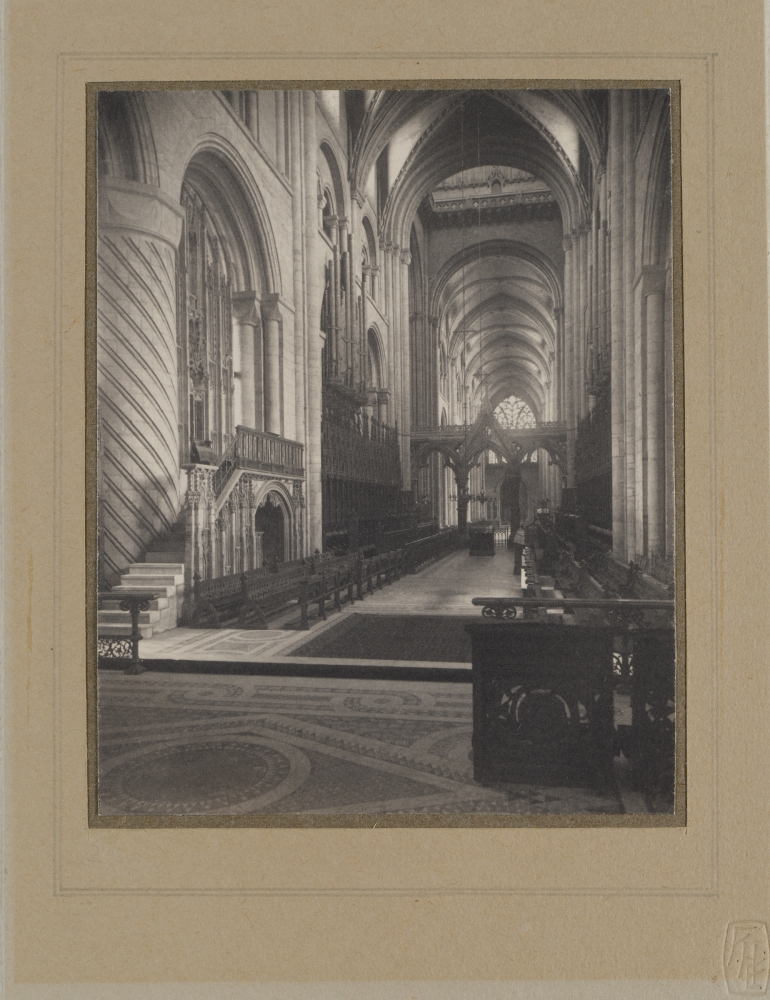 Frederick H. EVANS (English, 1853-1943) Durham Cathedral (interior view), circa 1900 Platinum print 12.0 x 9.6 cm mounted on paper two times. First mount with flush paper overmat 16.8 x 12.8 cm. Second mount 32.4 x 26.1 cm. The photographer's blindstamp on overmat. Hand ruled overmat. The photographer's printed book plate affixed to second mount verso.