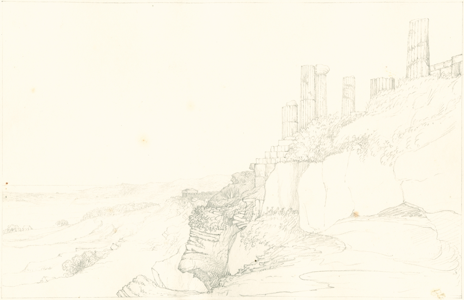 """Sir John Frederick William Herschel (English, 1792-1872) """"No 391 View from below the Temple of Juno, Girgenti Sicily. Temple of Concord in the distance"""", 27 June 1824 Camera lucida drawing, pencil on paper 20.0 x 31.0 cm on 25.1 x 38.4 cm paper"""
