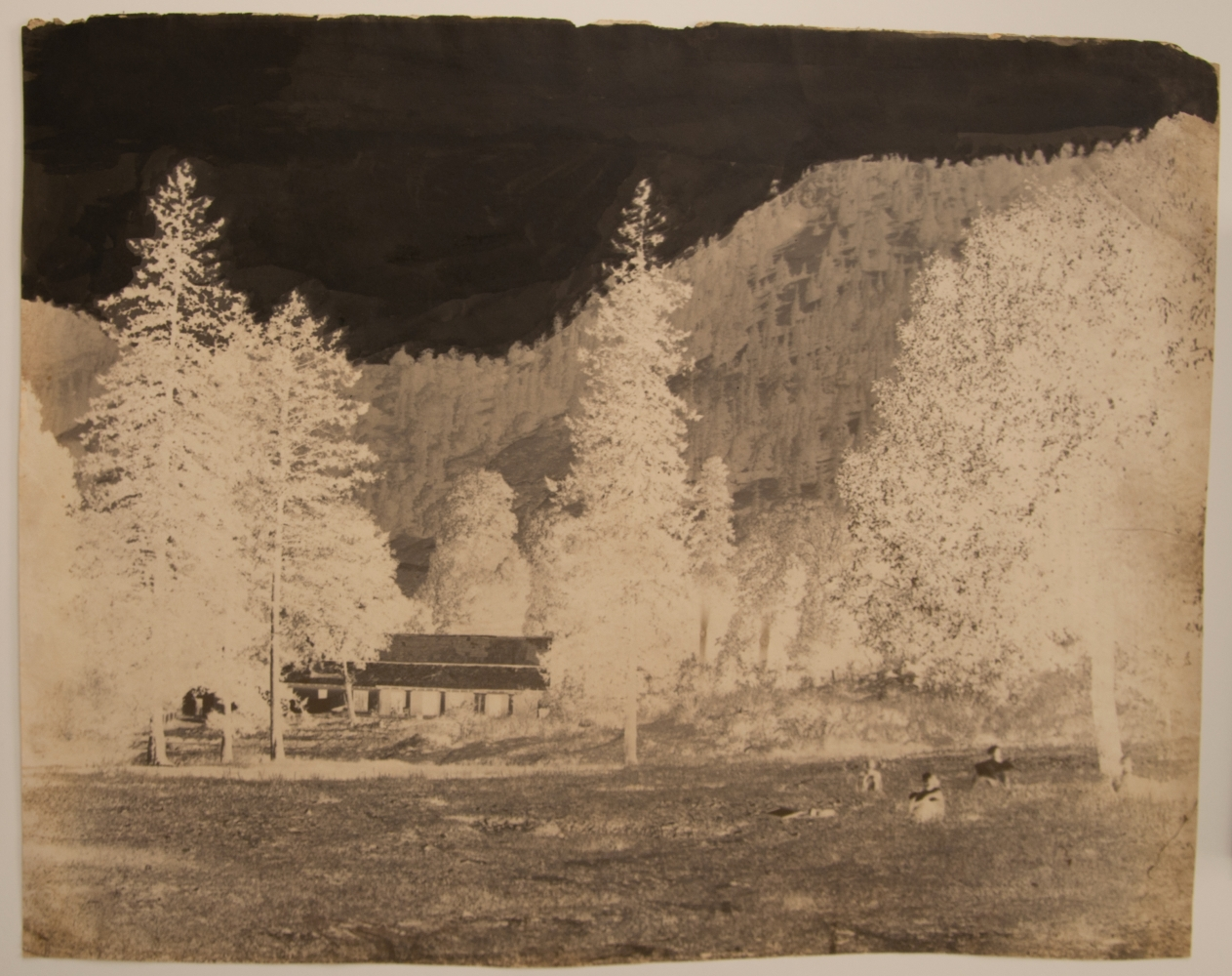 Dr. John MURRAY (Scottish, 1809-1898) Nainital, view of house in forest, circa 1858-1862 Calotype negative, waxed 36.8 x 47.1 cm, irregularly trimmed