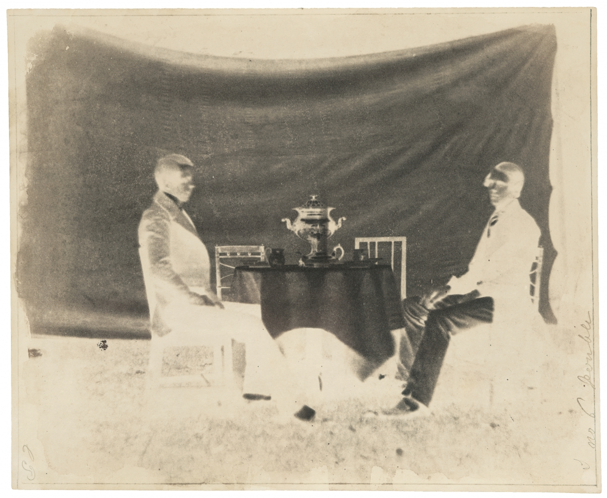 """William Henry Fox TALBOT (English, 1800-1877) Charles Porter and another man, circa 1843 Calotype negative 18.8 x 22.9 cm Ruled at edges, inscribed """"C.P."""" and """"n. 6 Double"""" in pencil"""