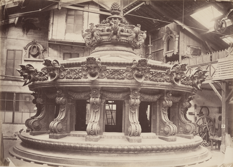 "Louis-Emile DURANDELLE (French, 1839-1917) Lantern, Opéra Garnier, Paris, circa 1869 Albumen print from a collodion negative 27.9 x 38.8 cm mounted on 42.3 x 55.0 cm paper ""Delmaet & Durandelle"" blindstamp on mount"