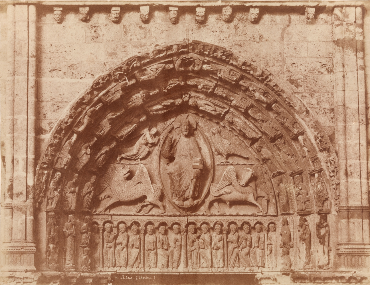 Henri LE SECQ (French, 1818-1882) Royal Portal tympanum, Chartres Cathedral, 1852 Coated salt print from a paper negative 35.7 x 47.9 cm mounted on 46.1 x 59.4 cm card Signed in the negative
