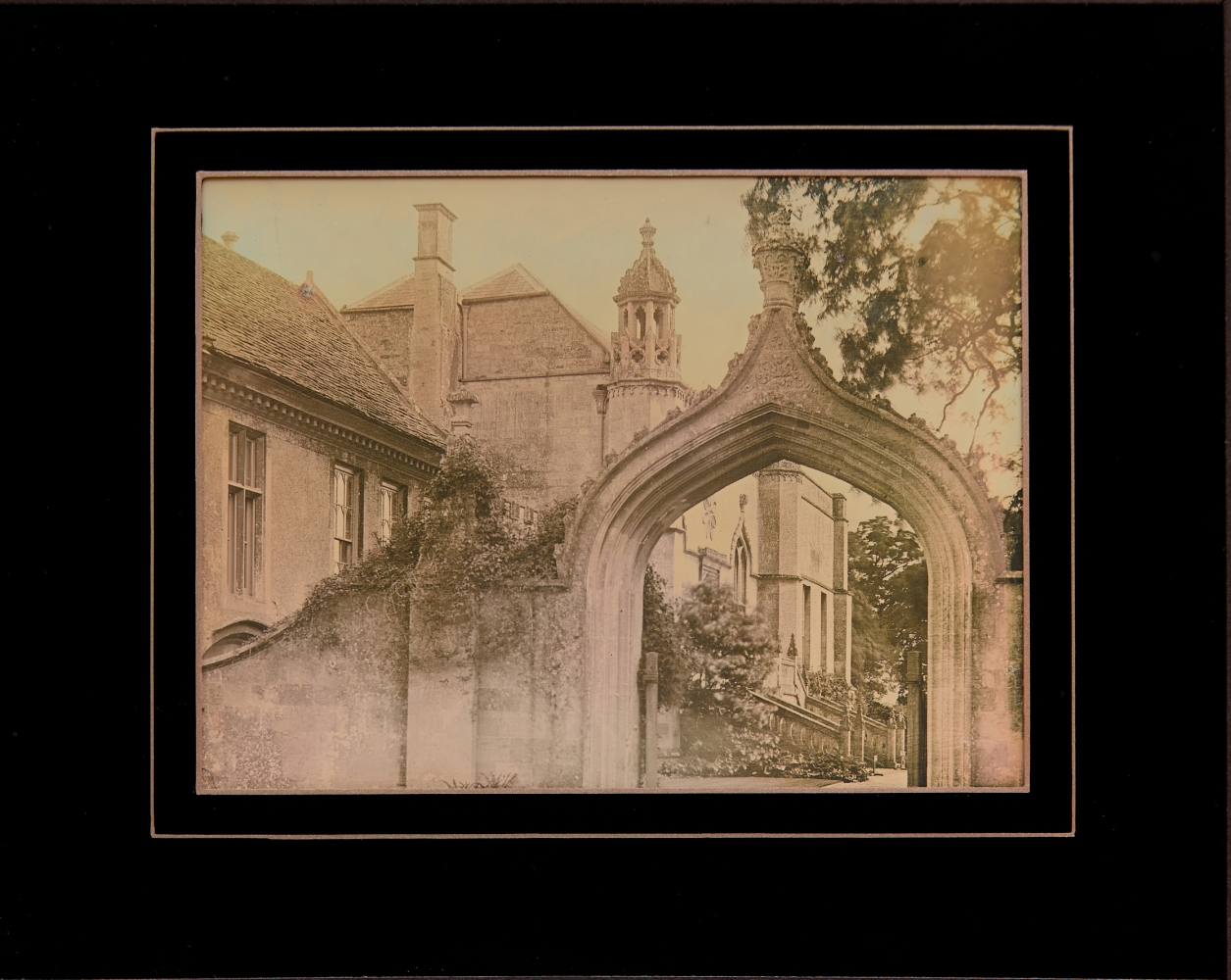 """Mike ROBINSON (Canadian, b. 1961) """"Gothick Gateway"""", Lacock Abbey, 2017 Half plate daguerreotype Framed in reverse paint passe-partout 15.8 x 19.7 cm Signed, titled, and dated in ink on studio label, frame verso"""