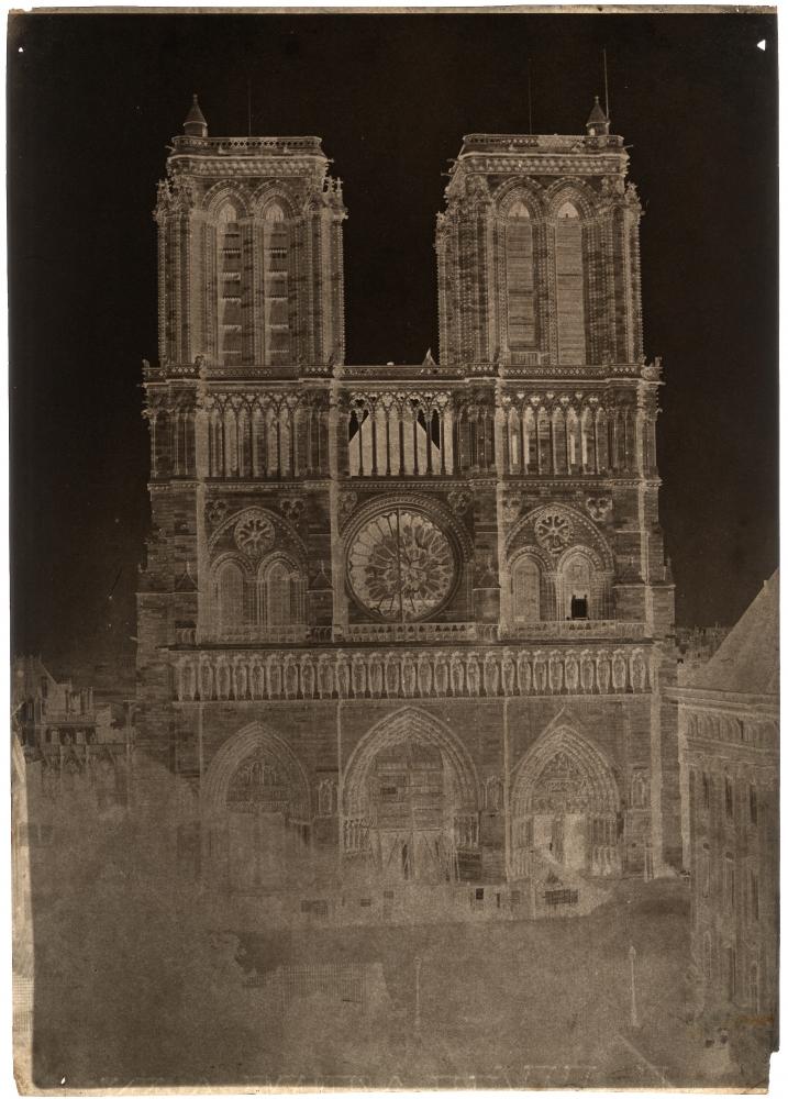 "Charles NÈGRE (French, 1820-1880) Notre-Dame, Paris, circa 1853 Waxed paper negative 33.8 x 23.9 cm Partial watermark ""J WHATMAN"""