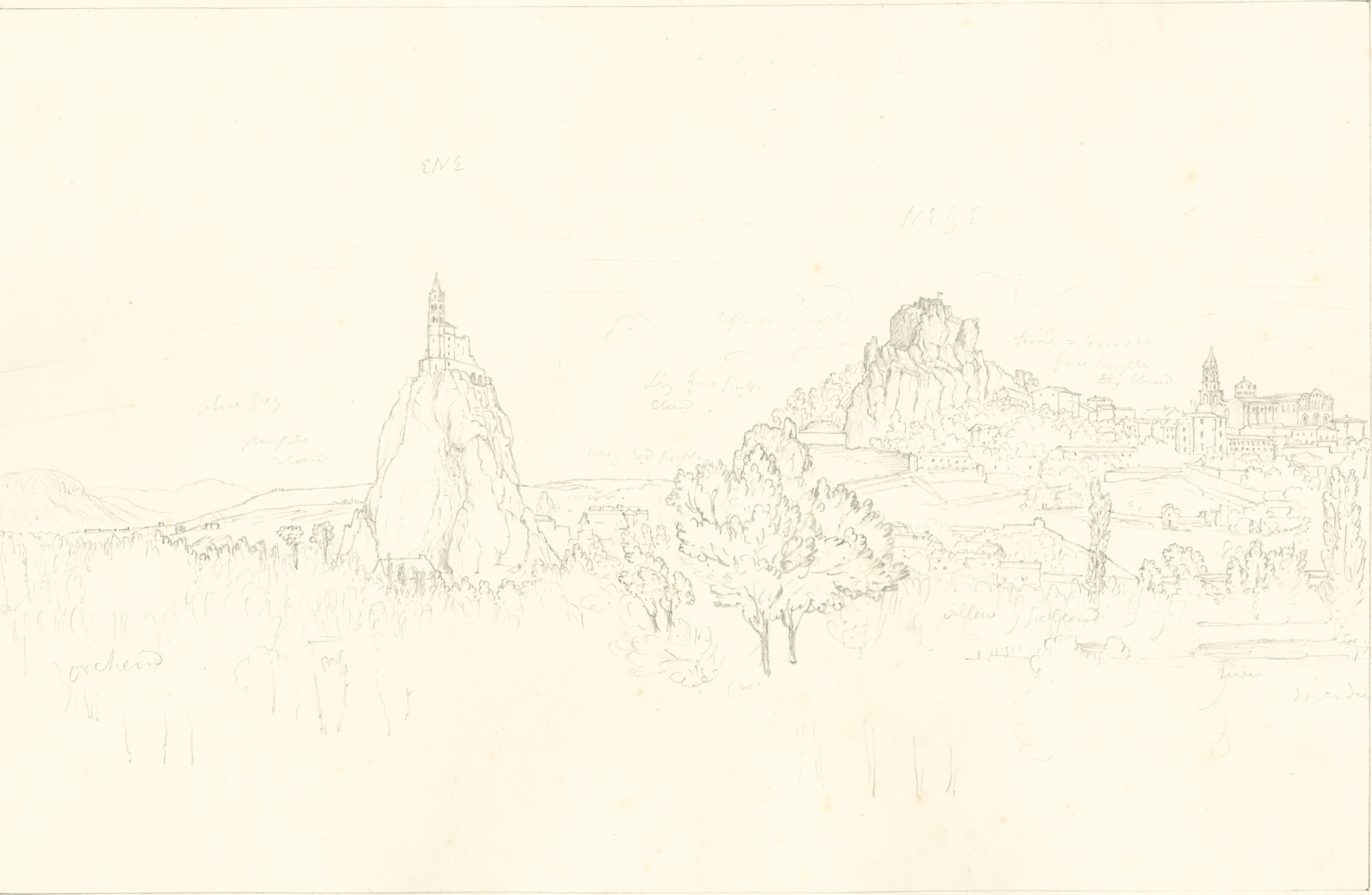 """Sir John Frederick William HERSCHEL (English, 1792-1872) """"No 495 Le Puy. From across the bridge. The Church of St Michel, The Rocher du Corneille & the Cathedral"""", 19 October 1850 Camera lucida drawing, pencil on paper 21.6 x 33.3 cm on 25.2 x 38.5 cm paper Numbered, signed, dated and titled """"No 495 / JFW Herschel del. Cam. Luc. Oct. 19, 1850 / Le Puy. From across the bridge. The Church of St Michel bearing ENE, The Rocher du Corneille NE by E. / (by compass) & the Cathedral"""" in ink in border"""