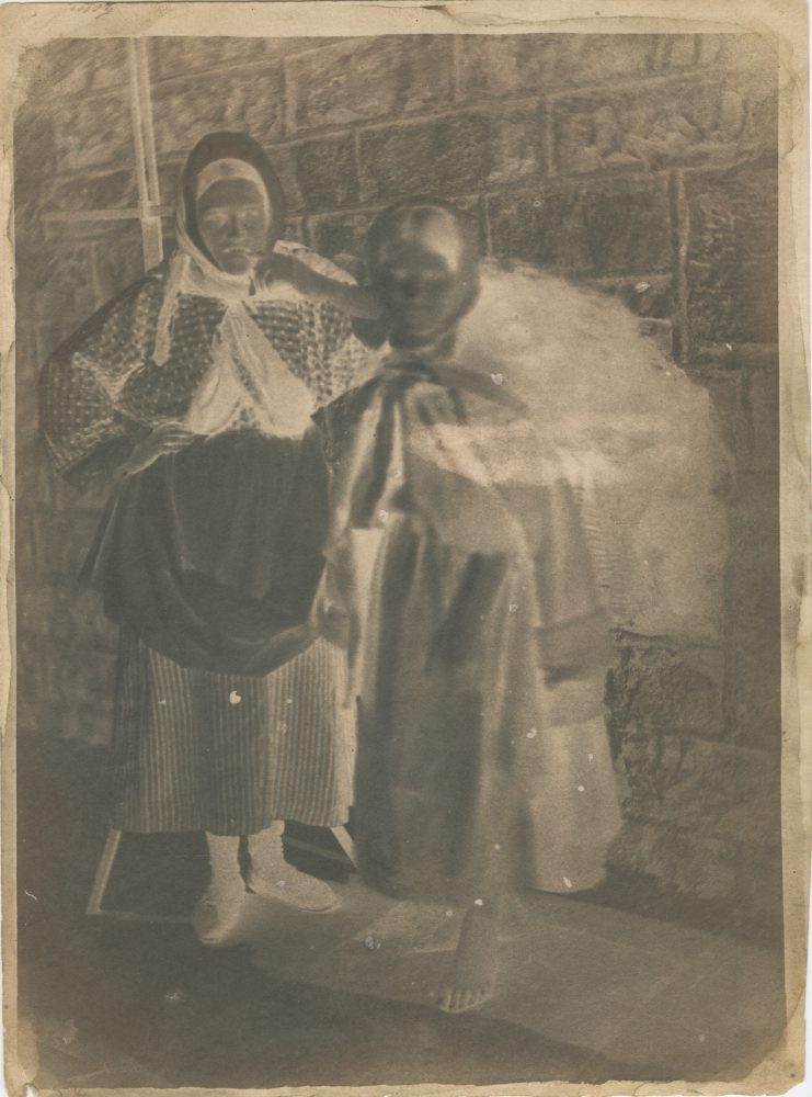 """David Octavius HILL & Robert ADAMSON (Scottish, 1802-1870 & 1821-1848) Newhaven fishwives, circa 1845 Calotype negative 20.4 x 14.9 cm on 21.4 x 15.8 cm paper Inscribed """"d.5"""" and """"gum"""" and """"74"""" in pencil. Inscribed """"74"""" in pencil on verso."""