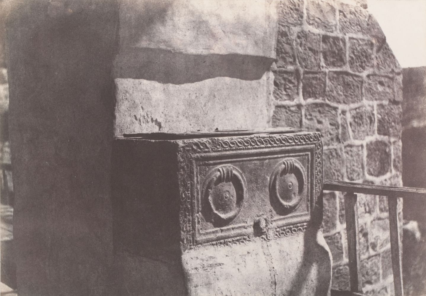 """Auguste SALZMANN (French, 1824-1872) """"Jérusalem. Sarcophage Judaïque"""", 1854 Blanquart-Évrard process salt print from a paper negative 23.2 x 33.2 cm mounted on 45.0 x 56.6 cm paper Title and credits lithographed on mount"""
