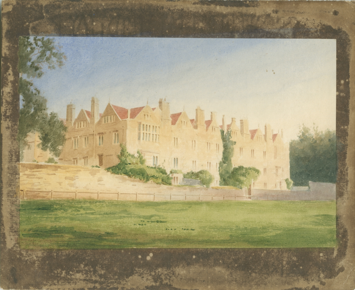 """William Henry Fox TALBOT (English, 1800-1877) Merton College from the fields, Oxford, circa 1843 Hand colored (possibly by André Mansion) salt print, from a calotype negative 13.6 x 20.2 cm on 18.7 x 22.7 cm paper Inscribed """"M' and """"X"""" and [illegible] in pencil on verso"""