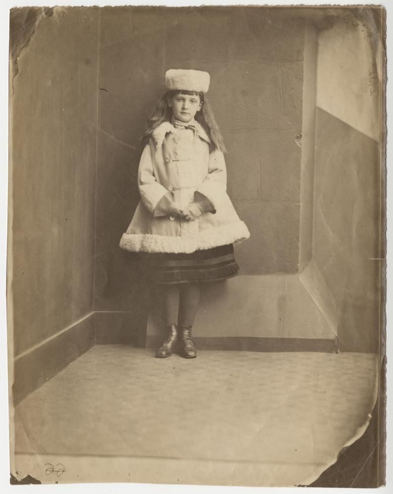 "Lewis CARROLL (Charles Lutwidge Dodgson) (English, 1832-1898) Xie (Alexandra) Kitchin as a ""Dane"", 1873 Albumen print from a collodion negative 21.0 x 16.5 cm on"