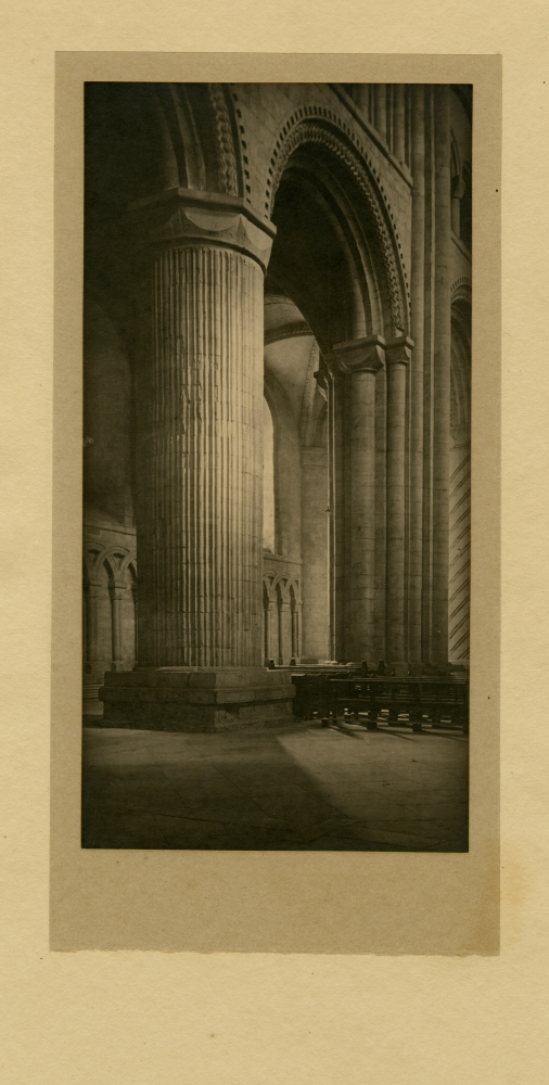 Frederick H. EVANS (English, 1853-1943) Durham Cathedral, 1912 Platinum print 23.8 x 12.1 cm mounted two times on 28.0 x 13.9 cm and 41.2 x 24.0 cm paper