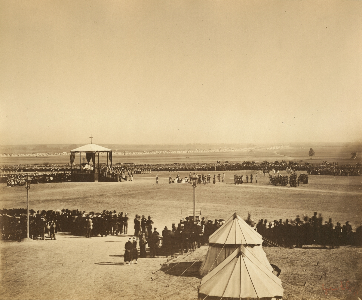 """Gustave LE GRAY (French, 1820-1884) La messe du 4 octobre, Camp de Chalons, 1857 Albumen print from a collodion on glass negative 31.7 x 38.3 cm mounted on 49.6 x 64.8 cm album sheet Photographer's red signature stamp. Inscribed """"5"""" in pencil on mount and on mount verso."""