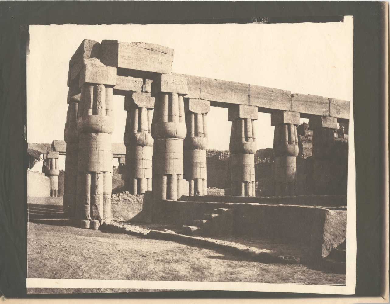 """Félix TEYNARD (French, 1817-1892) Louksor (Thebes). Construction Postérieure - Galeries Parallèles. Pl. 32, 1851-1852 Salt print from a waxed paper negative 26.4 x 31.5 cm on 29.0 x 37.0 cm paper Numbered """"No 32"""" with trim lines in the negative"""