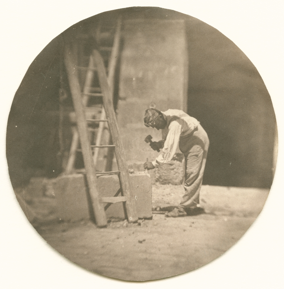 """Charles NÈGRE (French, 1820-1880) Le tailleur de pierre, summer 1853 Salt print from a collodion on glass negative 9.9 cm tondo Stamped """"André Jammes"""" and inscribed """"No 32 / FH 23 / A37"""" by André Jammes in pencil on verso"""