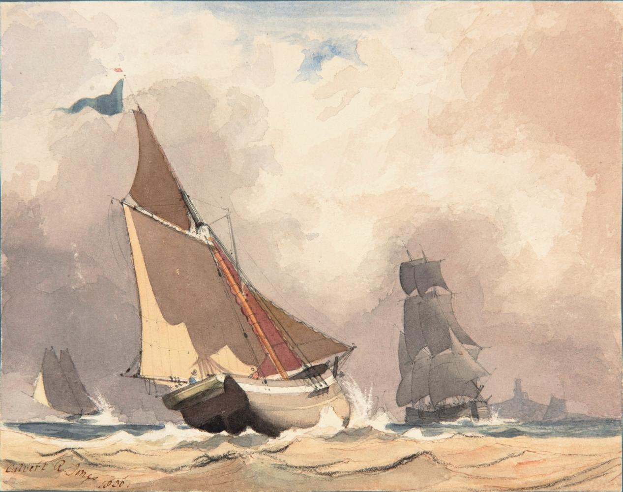 "Rev. Calvert Richard JONES (Welsh, 1802-1877) Study of sailing vessels*, 1830 Watercolour 16.3 x 20.4 cm Signed and dated ""Calvert R. Jones 1830"" in brown ink"