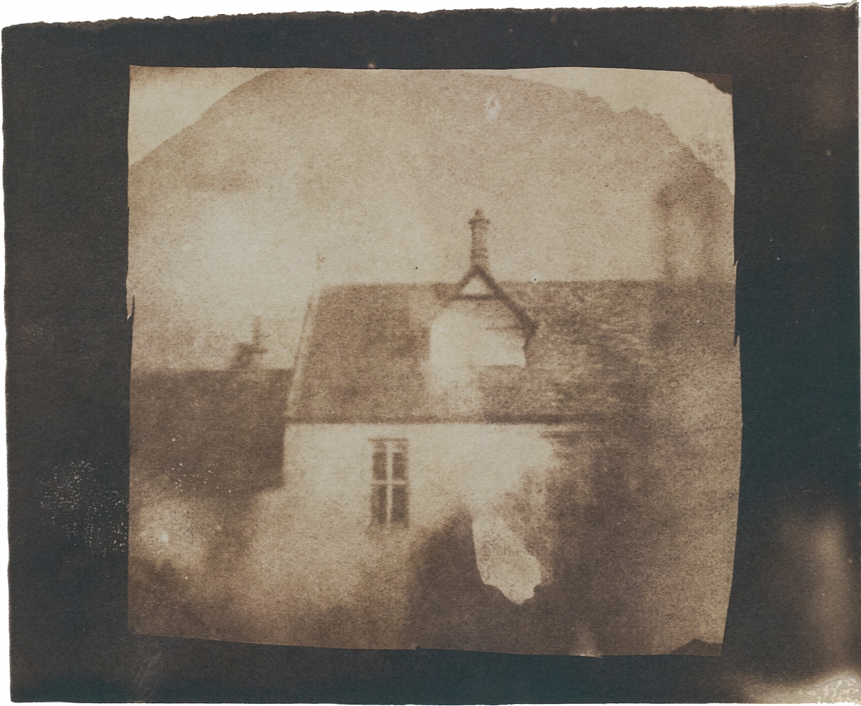 William Henry Fox TALBOT (English, 1800-1877) Stable roofline, northeast courtyard, Lacock Abbey, likely September 1840 Salt print from a photogenic drawing or calotype negative 8.0 x 8.2 cm on 9.3 x 11.6 cm paper