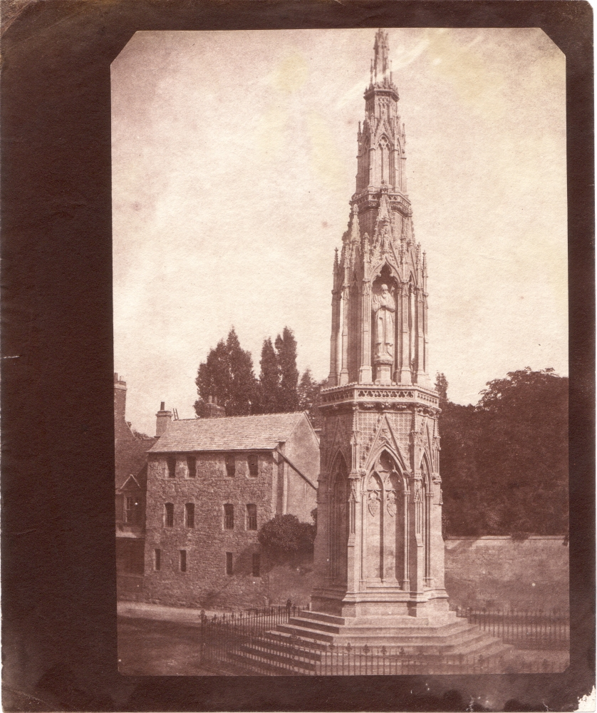 """William Henry Fox TALBOT (English, 1800-1877) """"The Martyrs' Monument"""" Oxford, 1843 Salt print from a calotype negative 20.3 x 14.4 cm on 22.3 x 18.8 cm paper, corners trimmed """"LA21"""" in ink on verso"""