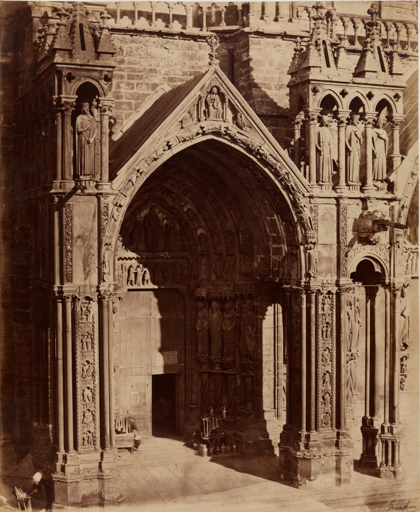 """Louis-Auguste & Auguste-Rosalie BISSON (BISSON FRÈRES) (French, 1814-1876 & 1826-1900) South porch, left portal, Chartres Cathedral, late 1850s Coated salt print from a glass negative 45.5 x 37.1 cm mounted on 59.7 x 46.1 cm paper Black """"Bisson frères"""" signature stamp"""