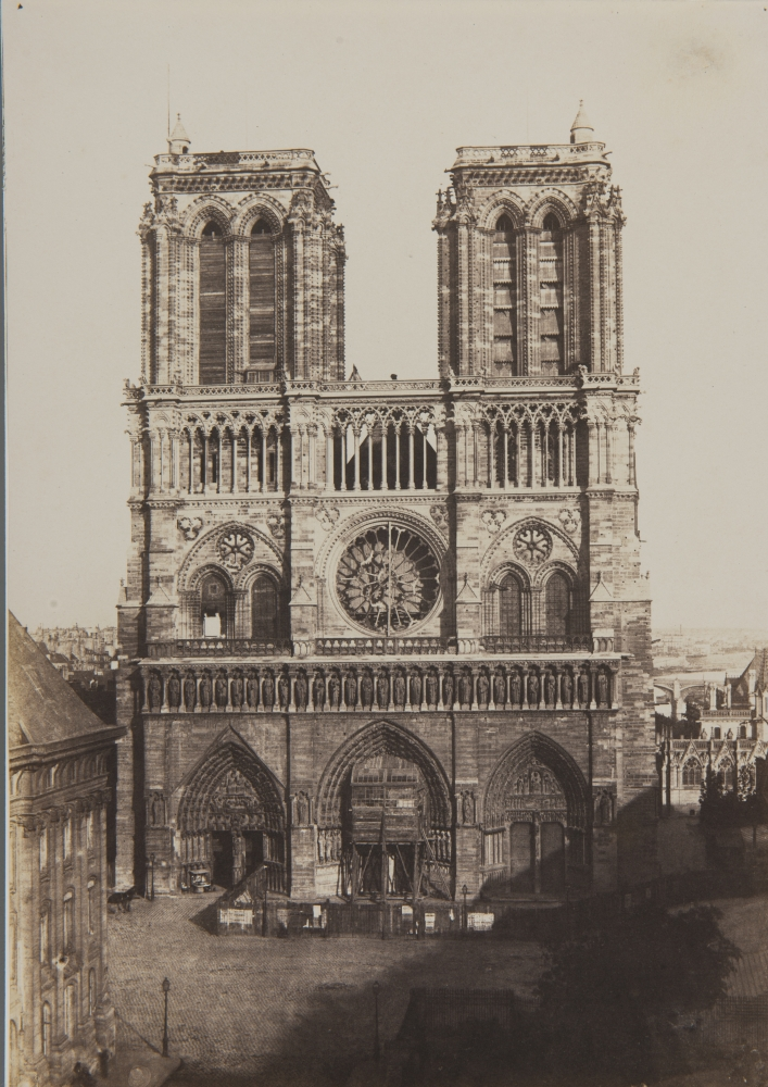 """Charles NÈGRE (French, 1820-1880) Notre-Dame, Paris*, circa 1853 Salt print from a paper negative 32.8 x 23.2 cm mounted on 33.0 x 23.4 cm modern rag paper Inscribed """"Coll. André Jammes"""" and """"B30 / #46"""" by André Jammes in pencil on mount verso."""