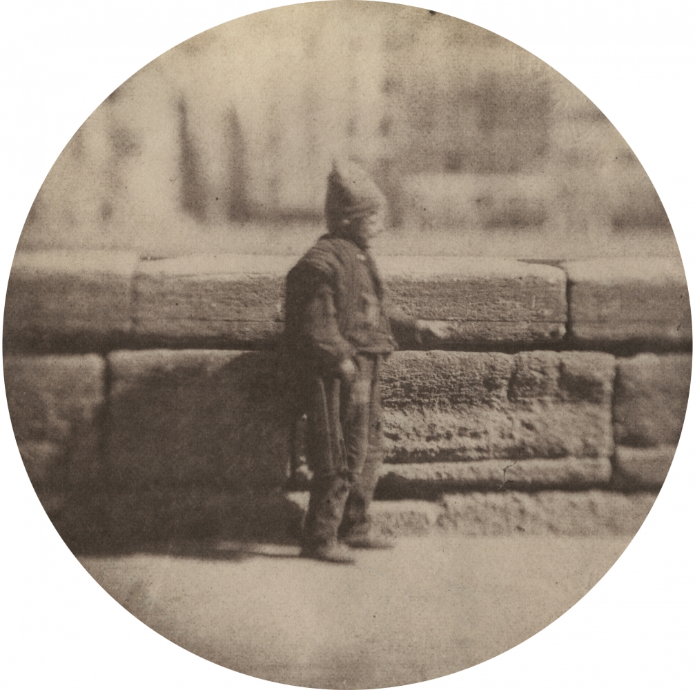 """Charles NÈGRE (French, 1820-1880) Le petit ramoneur, December 1851 Salt print from a waxed paper negative with selectively applied graphite 8.7 cm tondo Blindstamp """"Canson"""""""