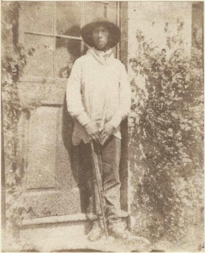 Rev. Calvert Richard JONES (Welsh, 1802-1877) Manservant standing in doorway, circa 1850 Salt print from a calotype negative 10.9 x 8.8 cm