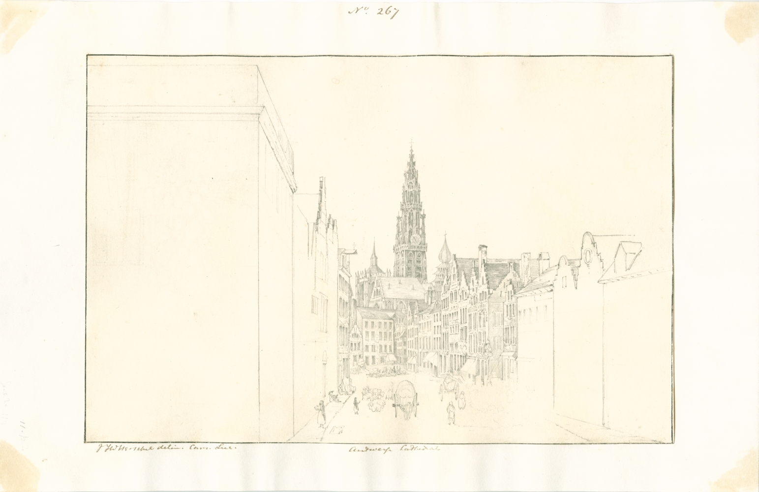 """Sir John Frederick William HERSCHEL (English, 1792-1872) """"No 267 Antwerp Cathedral"""", 16 October 1824 Camera lucida drawing, pencil on paper 19.4 x 29.3 cm mounted on 24.5 x 38.0 cm paper Numbered, signed and titled """"No 267 / JFW Herschel delin Cam. Luc. / Antwerp Cathedral"""" in ink in border"""