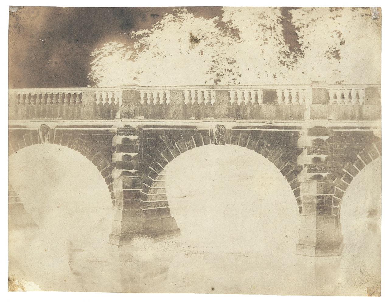 """William Henry Fox TALBOT (English, 1800-1877) Magdalen Bridge, Oxford, 30 July 1842 Calotype negative, waxed 16.2 x 20.7 cm Inscribed in pencil on verso """"30 July 1842"""""""