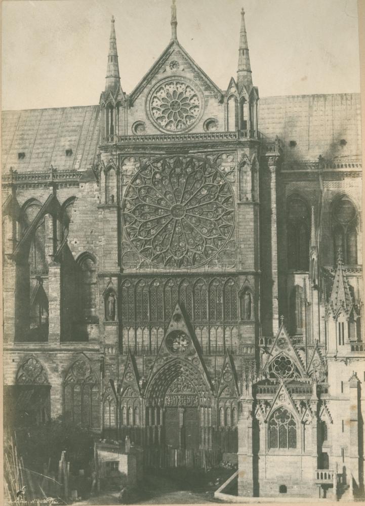"""Henri LE SECQ (French, 1818-1882) Portail méridionale de l'Église Notre-Dame de Paris, circa 1852 Blanquart-Evrard process salt print from a waxed paper negative 32.9 x 23.7 cm mounted on 55.5 x 38.5 cm paper """"H. Le Secq N.D. de Paris"""" signed in the negative"""