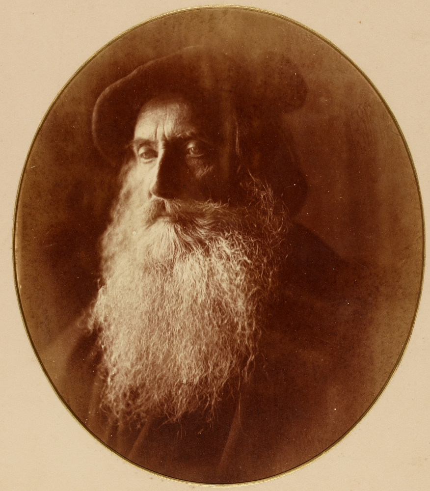 """Julia Margaret CAMERON (English, born in India, 1815-1879) """"Sir Henry Taylor"""", 1865 Albumen print from a wet collodion negative 25.4 x 21.7 cm visible area in 31.6 x 27.7 oval window with gilt bevel, mounted on 30.0 x 27.5 cm card Titled """"Sir Henry Taylor"""" in pencil on mount verso"""