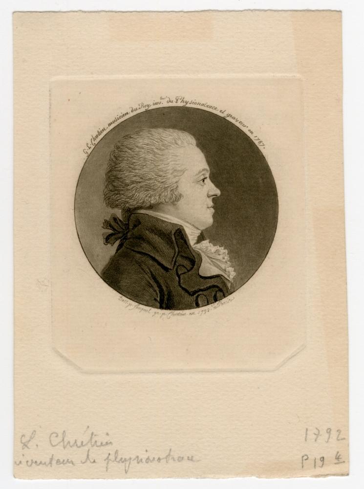"""Gilles-Louis CHRÉTIEN (French, 1754-1811) Self portrait, 1792 Physiognotrace, after a drawing by Jean Fouguet 5.3 cm tondo on 7.7 x 6.7 cm plate on 12.1 x 8.7 cm paper, after 1811 Printed """"G. L. Chrétien musicien du Roy, invteur de Physionotrace et graveur en 1787 / Dess. p. Fouquet gr. pl. Chrétien en 1792. a Paris"""". Inscribed """"L. Chrétien / inventeur de physionotrace / 1792 / 19 4"""" in pencil. Inscribed """"retirage relativement / inalt / d'apres la planche originale /rare cependant"""" with numerical notations, in pencil, on verso"""
