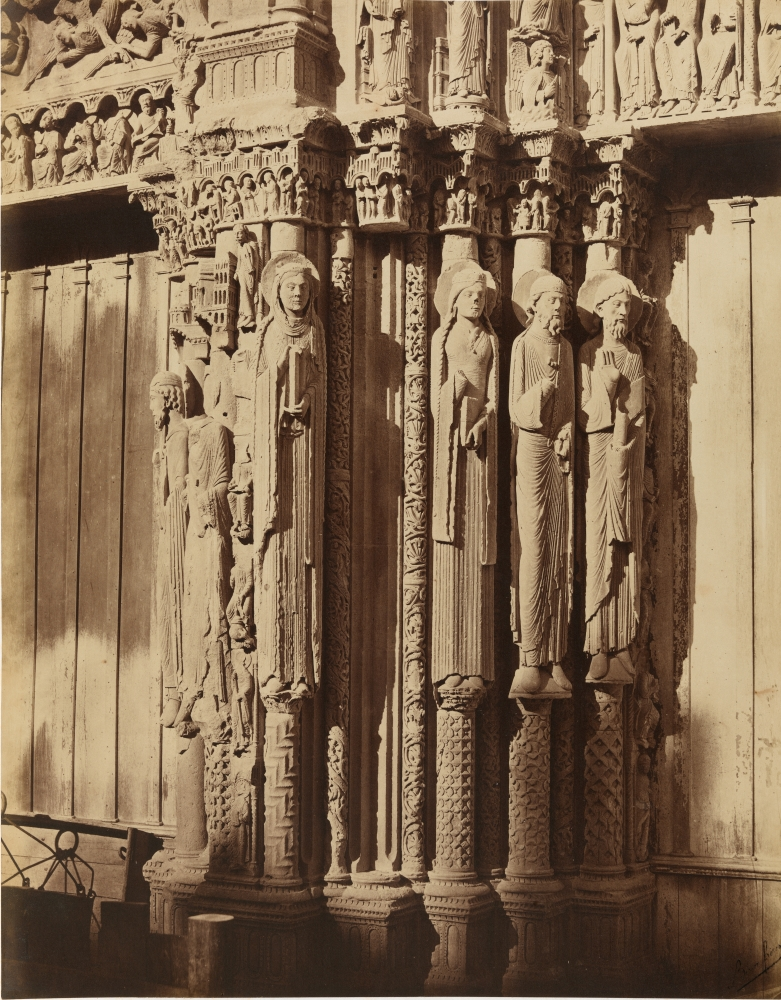 """Louis-Auguste & Auguste-Rosalie BISSON (BISSON FRÈRES) (French, 1814-1876 & 1826-1900) Royal Portal with Old Testament figures, Chartres Cathedral, 1857 Coated salt print from a glass negative 45.7 x 36.5 cm mounted on 59.7 x 46.1 cm paper Black """"Bisson frères"""" signature stamp"""
