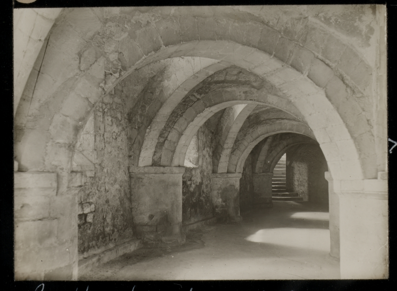 """Frederick H. EVANS (English, 1853-1943) """"Gloucester Cathedral. Crypt and steps out"""", 1890 Lantern slide 5.1 x 6.9 cm on 8.2 x 8.2 cm glass slide Signed """"F. H. Evans"""", titled and dated with """"83."""" and """"X"""" in white ink on the paper mask"""