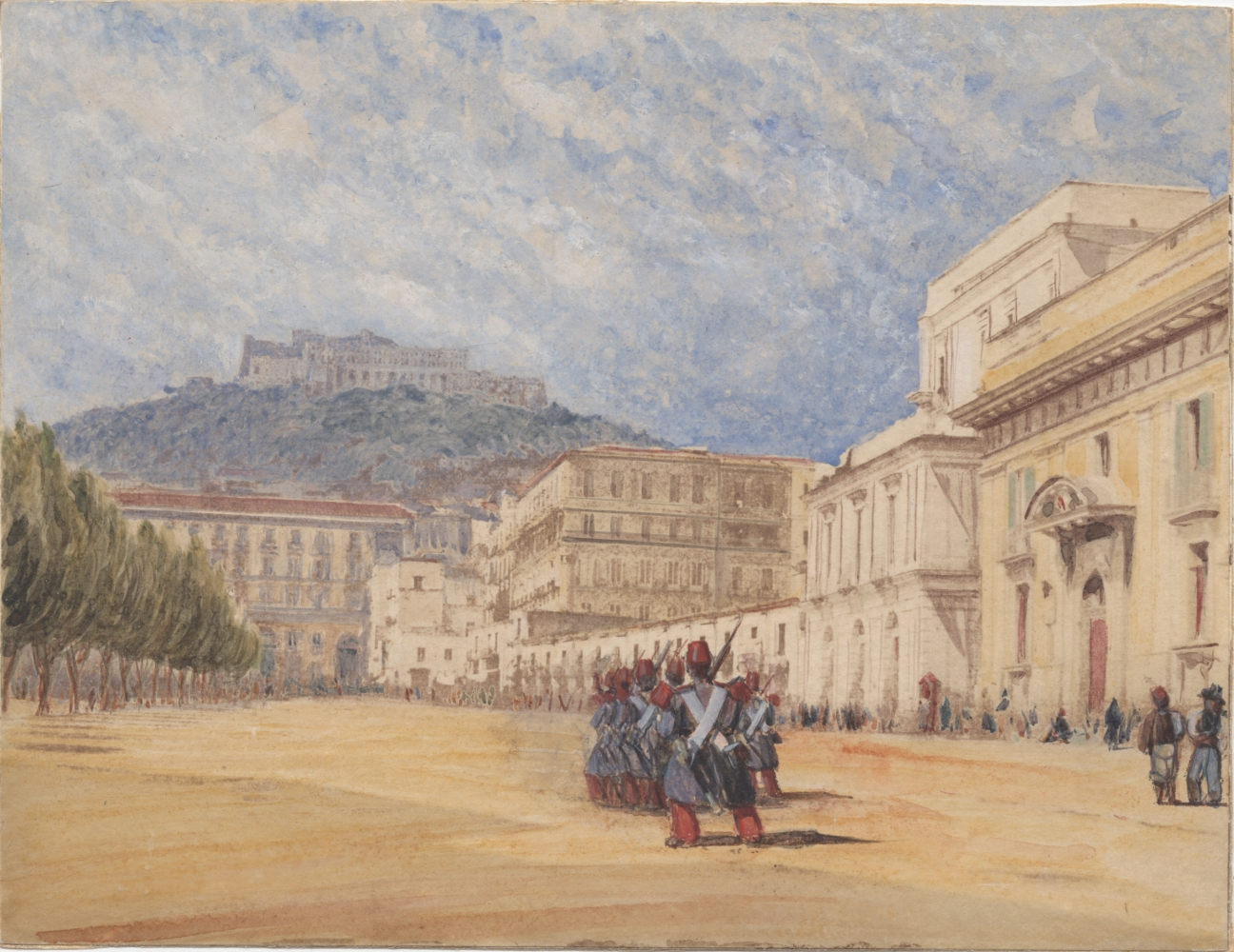 Rev. Calvert Richard JONES (Welsh, 1802-1877) Soldiers in formation, Naples, 1847 Hand-colored salt print from a calotype negative, spring 1846 15.3 x 19.9 cm, mounted flush on card