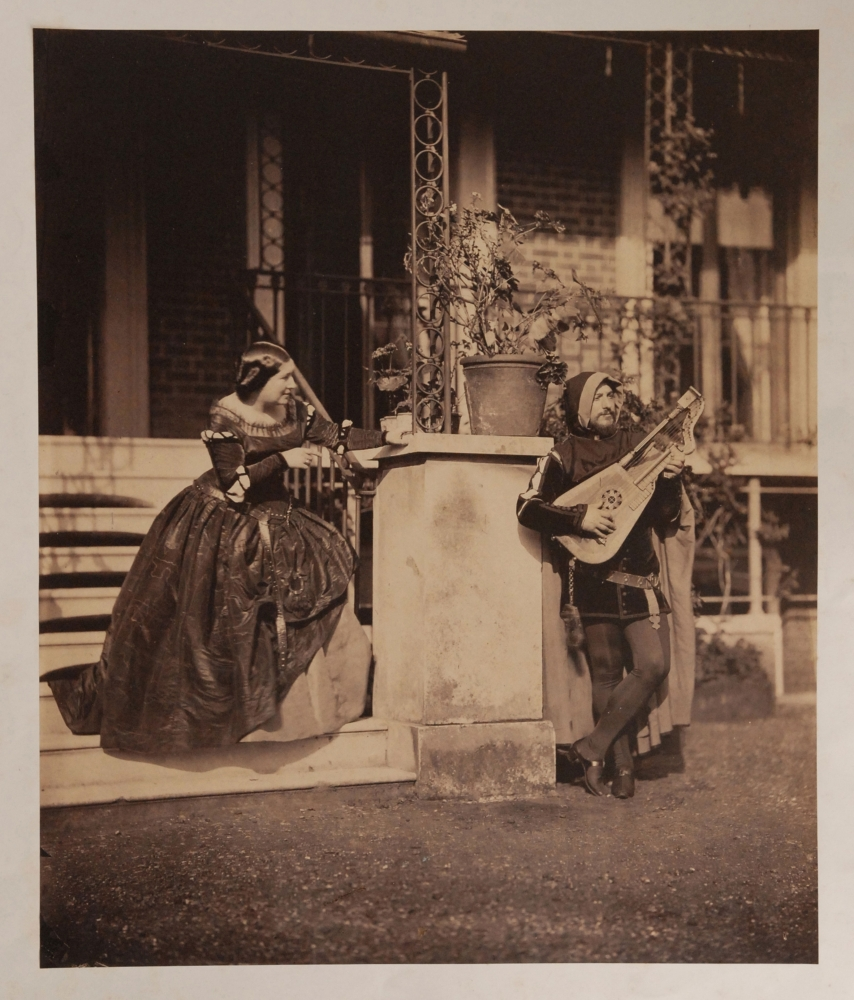 """Leonida CALDESI and Mattia MONTECCHI (Italian, 1822-1891 & Italian, 1816-1871) The Serenade (Mario and Grisi in """"Il Trovatore""""), 1857 Albumen print from a collodion negative 41.8 x 34.9 cm, mounted within 53.0 x 41.3 cm plate mark on 71.3 x 52.7 cm paper Titled in pencil on mount with [illegible] pencil notation"""