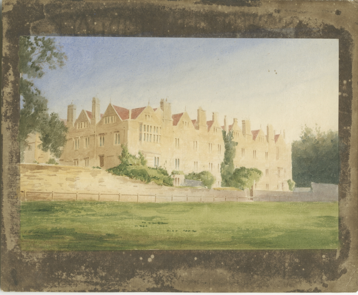 William Henry Fox TALBOT (English, 1800-1877) Merton College from the fields, Oxford, circa 1843 Hand colored (possibly by André Mansion) salt print, from a calotype negative 13.6 x 20.2 cm