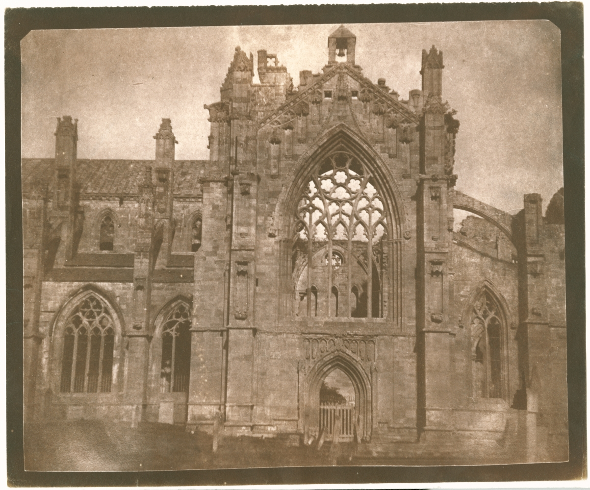 """William Henry Fox TALBOT (English, 1800-1877) Melrose Abbey, 1844 Salt print from a calotype negative 17.3 x 21.2 cm on 18.7 x 22.6 cm paper """"LA32"""" in ink on verso"""