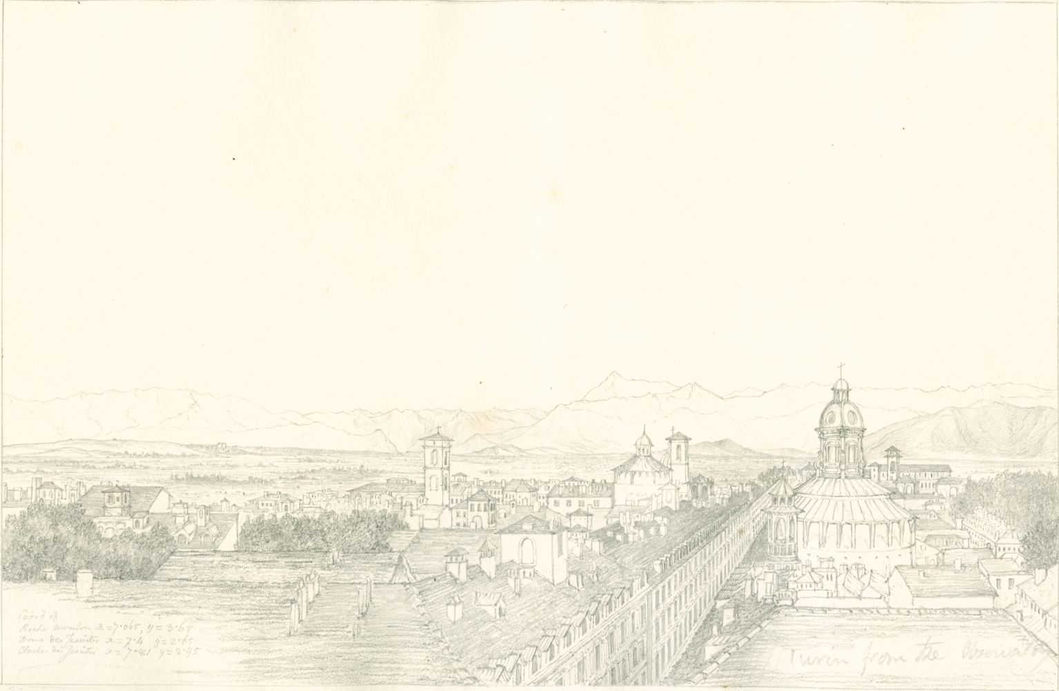 """Sir John Frederick William HERSCHEL (English, 1792-1872) """"No 351 Turin with the chain of the Alps. From the roof of the Observatory"""", 1824 Camera lucida drawing, pencil on paper"""