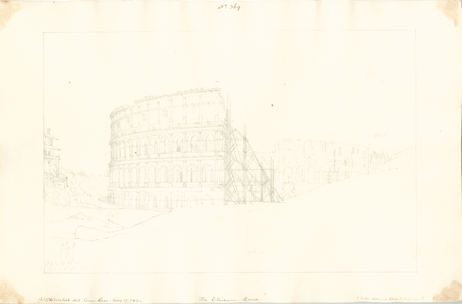 """Sir John Frederick William HERSCHEL (English, 1792-1872) """"No 369 The Coliseum, Rome (with extreme care & precision)."""", 17 May 1824 Camera lucida drawing, pencil on paper 20.1 x 30.9 cm on 25.2 x 38.6 cm paper Numbered, signed, dated and titled """"No 369 / JFW Herschel del. Cam. Luc. May 17, 1824. / The Coliseum, Rome / (with extreme care & precision)."""" in ink in border. Inscribed """"Coliseum"""" in pencil on verso Inventory #301377.11"""