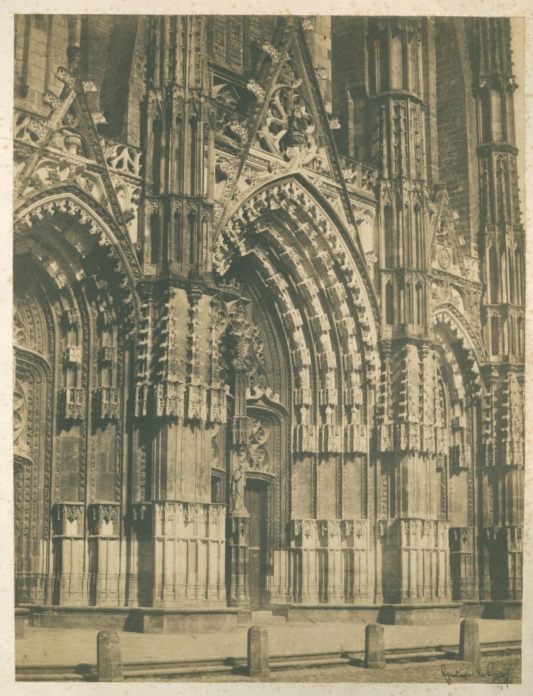 Gustave LE GRAY (French, 1820-1884) Cathedral Saint-Gatien, Tours, 1851 Salt print from a paper negative 36.7 x 28.3 cm mounted on 46.7 x 38.1 cm paper Photographer's black signature stamp