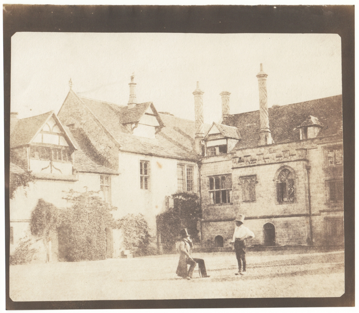 William Henry Fox TALBOT (English, 1800-1877) Talbot converses with an Acolyte in the North Courtyard of Lacock Abbey, 1841-1844 Salt print from a calotype negative 15.9 x 20.0 cm on