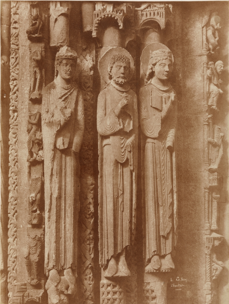 """Henri LE SECQ (French, 1818-1882) Right portal, left jamb with Old Testament figures, Chartres Cathedral, 1852 Coated salt print from a waxed paper negative 46.5 x 35.2 cm mounted on 59.5 x 46.2 cm card Signed and titled """"h. Le Secq. / Chartres."""" in the negative"""