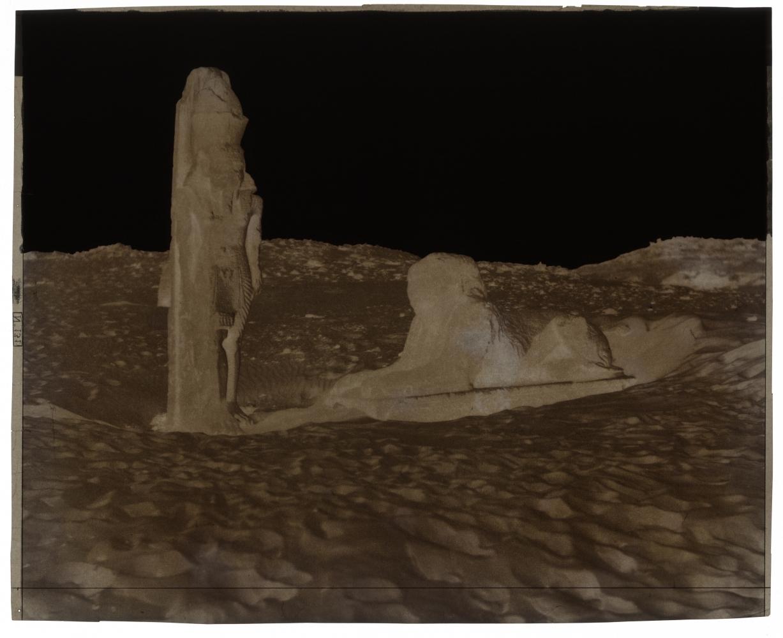 Félix TEYNARD (French, 1817-1892) Sebouah. Temple - Colosse et Sphinx de la Partie Gauche de l'Avenue. Pl. 131, 1851-1852 Waxed paper negative 25.9 x 31.8 cm