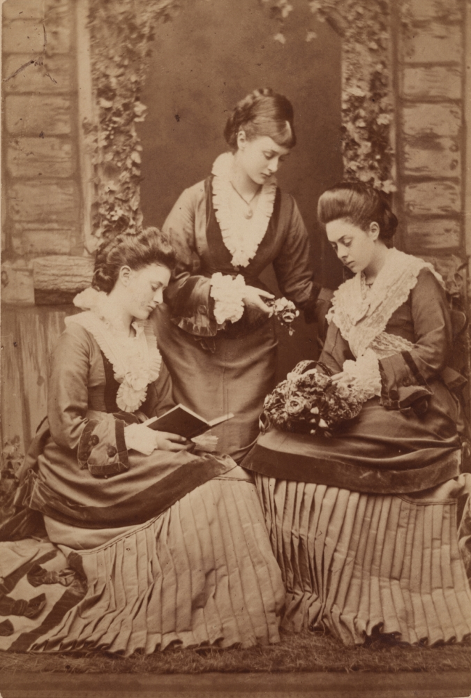 Alexander BASSANO (English, 1829-1913) Alice, Edith and Ina Liddell, 1876  Albumen print, mounted as a cabinet card 14.8 x 10.0 cm
