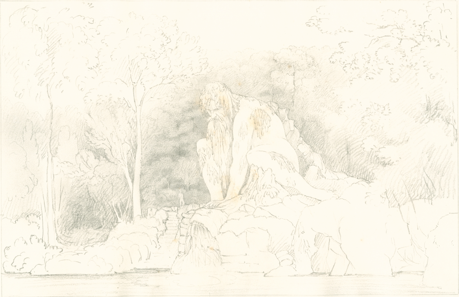 """Sir John Frederick William HERSCHEL (English, 1792-1872) """"No 358 Colossal Statue 'Father Apennine' by John of Bologna in the Grand-ducal garden of Pratolino near Florence"""" , 1824 Camera lucida drawing, pencil on paper"""
