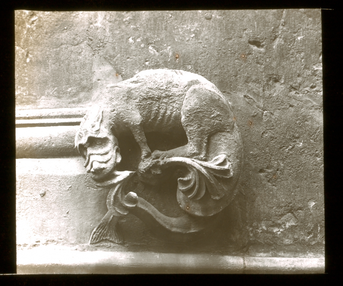 """Frederick H. EVANS (English, 1853-1943) """"Lincoln Cathedral, Grotesque Sculpture"""", 1895 Lantern slide 4.4 x 5.2 cm on 8.2 x 8.2 cm glass slide Signed """"F. H. Evans"""", titled and dated in white ink on the paper mask"""