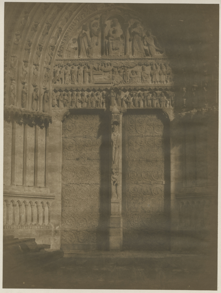 Gustave LE GRAY (French, 1820-1884) Portail Ste. Anne, Notre-Dame de Paris, early 1850s Salt print from a waxed paper negative 36.1 x 27.2 cm mounted on 47.2 x 35.0 cm paper