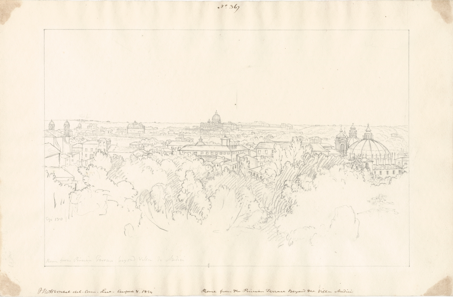 """Sir John Frederick William HERSCHEL (English, 1792-1872) """"Rome from the Pincian Terrace beyond the Villa Medici"""", 8 August 1824 Camera lucida drawing, pencil on paper 25.2 x 38.7 cm Signed, titled and annotated """"No. 367 / JFW Herschel del.Cam.Luc. August 8, 1824 / Rome from the Pincian Terrace beyond the Villa Medici"""" in brown ink; """" Egi [?] 13.0 / Rome from the Pincian Terrace beyond Villa de Medici"""" in pencil. """"Rome from the Pincian Terrace beyond Villa Medici / 2140"""" in pencil on verso."""