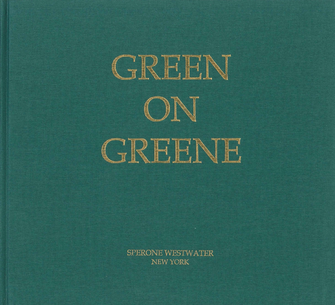 green cloth bound catalogue with gold text reading Green on Greene